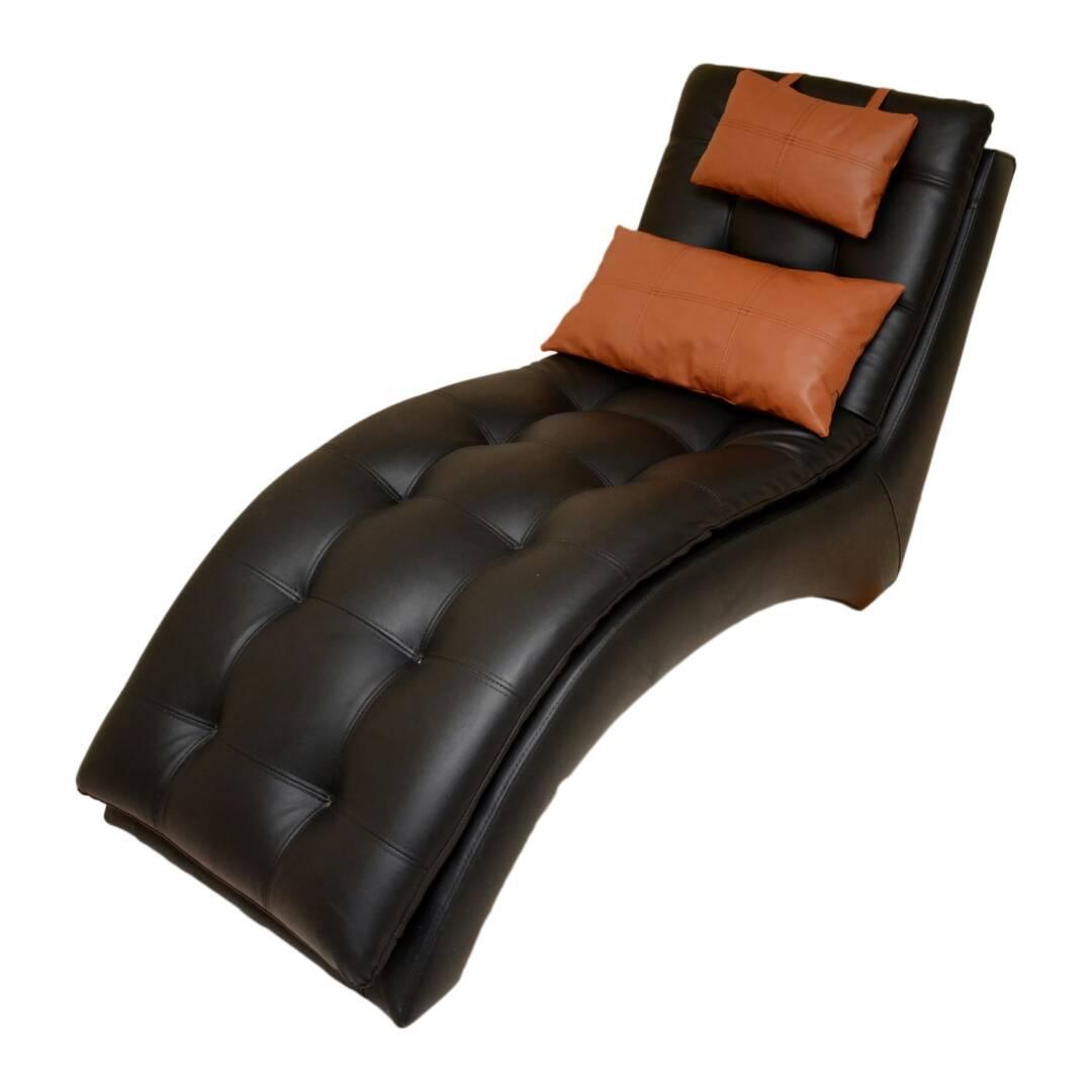 Kariba Black Leather Divan Chair Chaise Lounge Craftsman